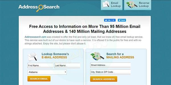 البحث عن شخص عن طريق اسمه عن طريق موقع Addresssearch